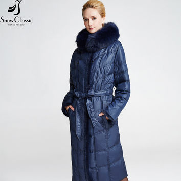 Snow Classic Women's Winter Jacket 2016 Plus Size down Jacket 6xl Fox Fur Collar coat The year-end clearance 293