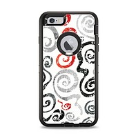 The Red Accented Grayscale Swirl Pattern Apple iPhone 6 Plus Otterbox Defender Case Skin Set