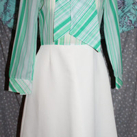 Vintage hand made 60s 70s LS dress white green stripes circle skirt tie neck preppy pussy bow sheer