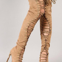Stunning closed toe thigh high metal heel boots lace-up gladiator high heel long boots plus size 43 nightclub boots