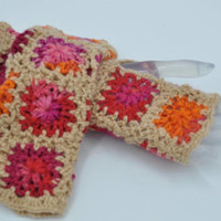 Women  fingerless gloves crochet from granny squares, Christmas gifts guide Holiday gifts