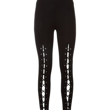 Petite Eyelet Lace Up Leggings | New Look