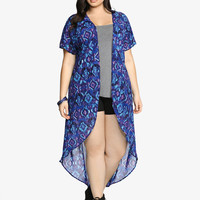 Abstract Print Dolman Duster