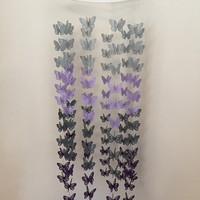 Deep purple, dark gray, lavendar, and light gray butterfly baby mobile