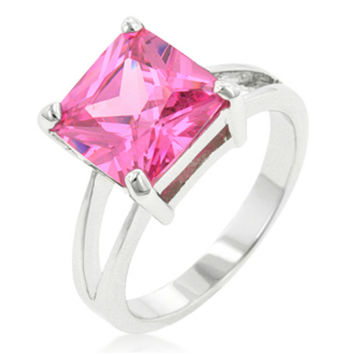Nadine Pink Princess Cut Engagement Ring | 5ct | Cubic Zirconia | Silver