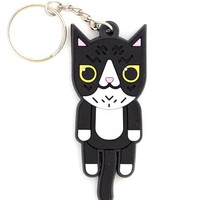 Black & White Cat Keychain