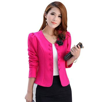 New 2017 autumn Jacket Blazer Women lady suit temperament OL Blazer coat double Button top Blazers Jackets corsage S~3XL