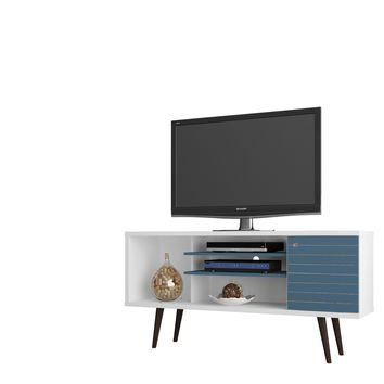 "Liberty 53.14"" Mid Century - Modern TV Stand w/ 5 Shelves & 1 Door w/ Solid Wood Legs-White and Aqua Blue"