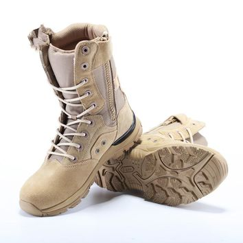 Outdoor New Design Military Tactical Mens Cow Suede Desert Boots Walking Breathable Male Camping Climbing Hiking Shoes