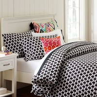 Ikat Dot Organic Duvet Cover + Pillowcases, Black