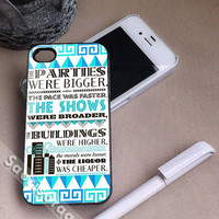 The Great Gatsby Quote for iPhone 4/4s, iPhone 5, 5s, 5c Case, Samsung Galaxy S3, S4 Case