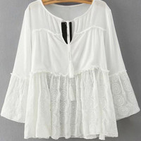 White Lace Bandage Patchwork Blouse