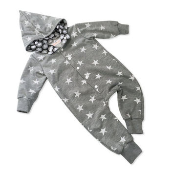 Baby Overalls, Little Boys First Outfit, Baby Bring Home Outfit, Winter Kids Outfit, Grey Overalls with Stars, European Ready To Ship