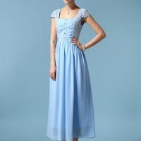 Blue Short Sleeve Lace Chiffon Sheath A-Line Pleated Maxi Dress