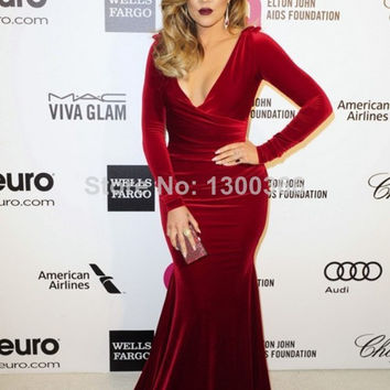 Khloe Kardashian Burgundy Velvet Plus Size Long Sleeve Celebrity Dress Oscar Party 2014 Mermaid V Neck Evening Party Gown
