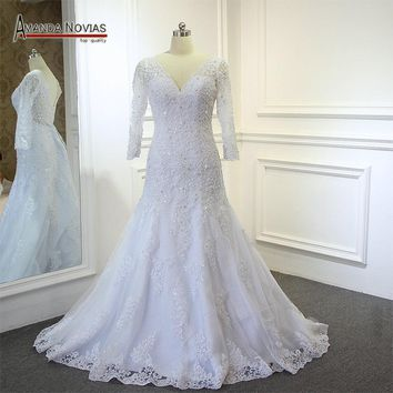 Wedding Dress With Sleeves Lace Full Beading Wedding Dress