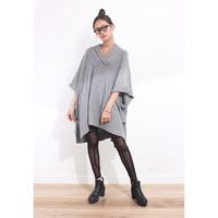 Shawl Collar Boxy Knit Poncho Dress