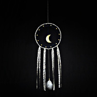 Minimalist dream catcher,  blue, white , wall hanging, moon, white feathers, beaded dreamcatcher, long, large, bedroom decor