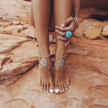 Boho 2PCS Beaded Chain Turquoise Ankle