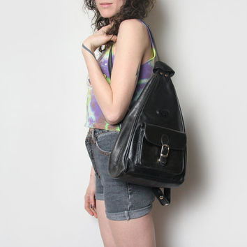 Vintage Basido Genuine Italian Leather Mini Backpack // Leather Backpack // Black Leather Backpack // Leather Purse