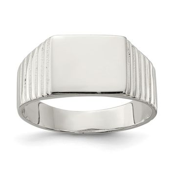 925 Sterling Silver 10x12mm Open Back Signet Ring