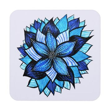 Pretty Abstract Blue Mandala Like Flower Drawing Beverage Coaster