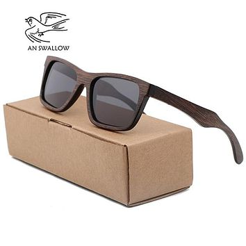 AN SWALLOW Bamboo Sunglasses with Polarized Lenses