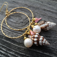 Shell and Pearl Hoop Earrings