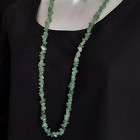 NATURAL Quartz Gemstone NECKLACE Green Nugget Beaded Jewelry LONG Womens Vintage Necklaces 34 Inches, Gift for Her