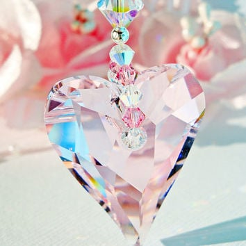 Crystal Suncatcher Rear View Mirror Charm Swarovski Pink Rosaline Crystal Car Mirror Accessories