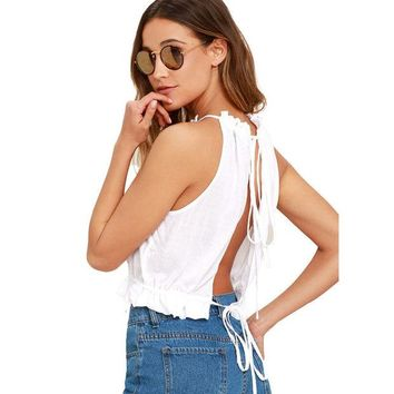 DKF4S Women Top 2017 New Women's Fashion Sexy Summer Tie Back Camis Tied Strap Crop Tops Backless Tank Tops Cross Camisole