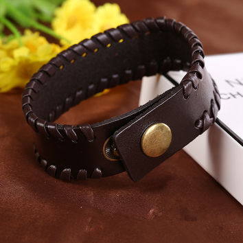 Free Shipping 2015 New Fashion Classic Fine Jewelry Hot Punk Atmospheric Men's Belt Buckle Bracelet Leather Bracelet sa062