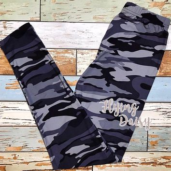 Black and Gray Camo Leggings - Regular and Plus Size