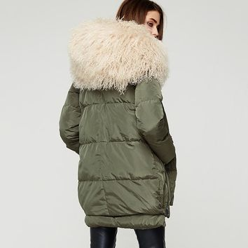 Down Coats Women Long Parka Removable Wool Fur Hooded Winter Thick long type Down Jacket