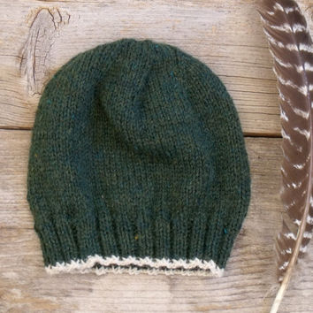 SALE 25% OFF - Men's Basic Beanie in Heathered Forest Green with Off White Edging