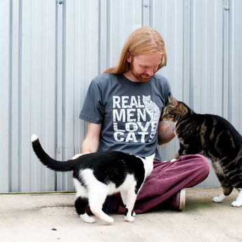 Real Men Love Cats tshirt Mens American Apparel by rctees on Etsy