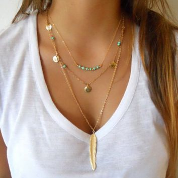 Fashion simple turquoise beads sequins leaf feathers multi - storey necklaces
