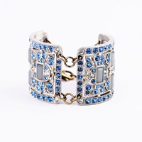 Blue Rhinestone Bangle Shape Bracelet