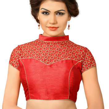 Saris and Things Red Net Fancy Back Open Saree Blouse Choli SNT-X-400-RED