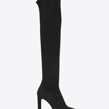 SAINT LAURENT GRACE 105 OVER THE KNEE BOOT IN BLACK STRETCH SUEDE | YSL.COM