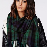 Missguided - Caz Check Fringed Scarf Deep Green