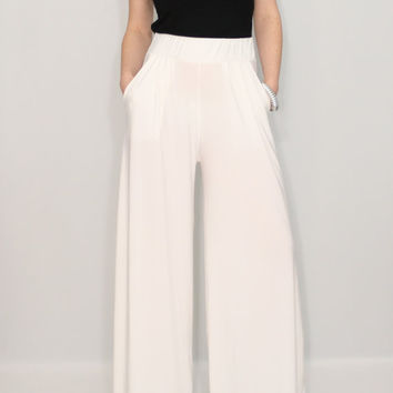 Women pants Wide leg pants Ivory pants with pockets Off white trousers