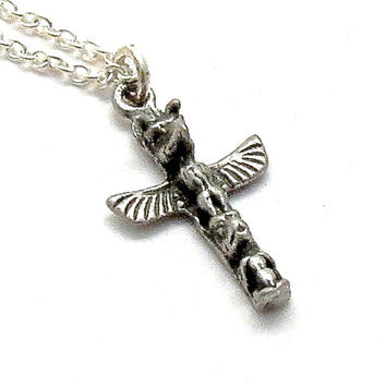 Tiny Totem Pole Necklace-Sterling silver charm-Native American Pendant-Navajo-Tribal necklace-Spiritual-Eagle-American Indian necklace