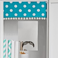 Teal Dottie Pom Pom Locker Curtains