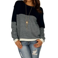 Promo-navy Contrast Chevron Stripe Sweater