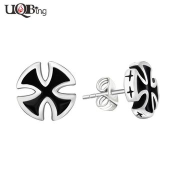 Vintage Men's 316L Stainless Steel Black Cross Stud Earrings Brincos For Party Jewelry