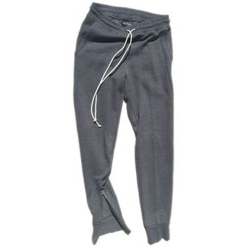 God Grey Tapered Sweatpants w/ Ankle Zippers