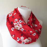 Red White Floral Pattern Chiffon Infinity Scarf - Circle Scarf - Loop Scarf - Fall Winter Spring Summer Fashion