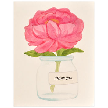 Thank You Peony Note Card