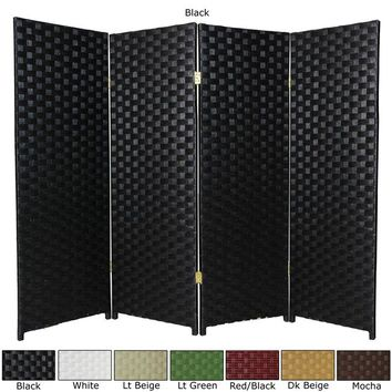 Handcrafted Woven Fiber Four-Panel Four-Foot Room Divider (China) | Overstock.com Shopping - The Best Deals on Decorative Screens